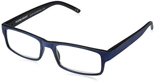 Foster Grant Men's Aiden Navy 1017894-200.COM Rectangular Reading Glasses, Navy Blue, 2