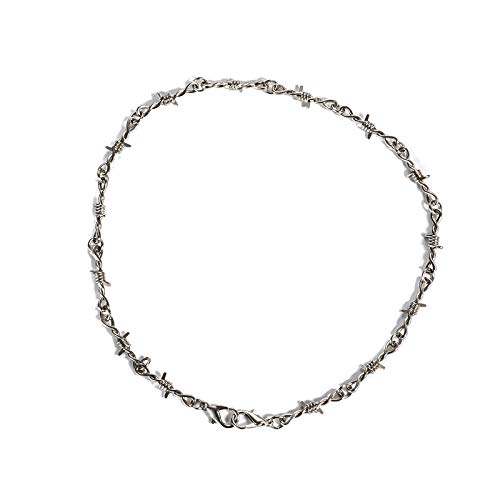 Maylan Heavy Duty Padlock Choker Metal Collar Thorns Iron Necklace Unisex Chain Hip-hop Harajuku Punk Gothic Alloy Barbed Wire Necklace for Men Women Silver