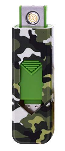 CHAMP Camouflage USB Zünder Feuerzeug No Flame No Gas Wiederaufladbar (Grün)