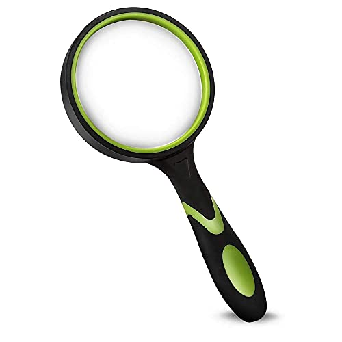 Wapodeai Magnifying Glasses, Magnifying Glass 4X Handheld Reading Magnifier for Seniors & Kids, 75mm Large Magnifying Lens with Non-Slip Rubber Handle for Reading and Hobbies.