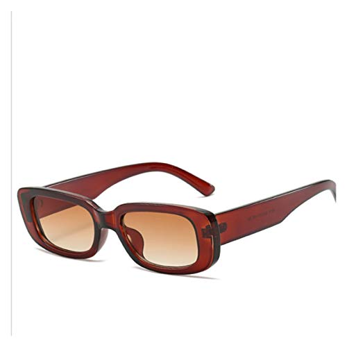 ZYHWS Gafas de Sol de la Vendimia para Las Mujeres Retro diseñador de la Marca Pequeño rectángulo Gafas de Sol Sombras de gradiente Classic Gafass (Frame Color, Lenses Color : Brown)