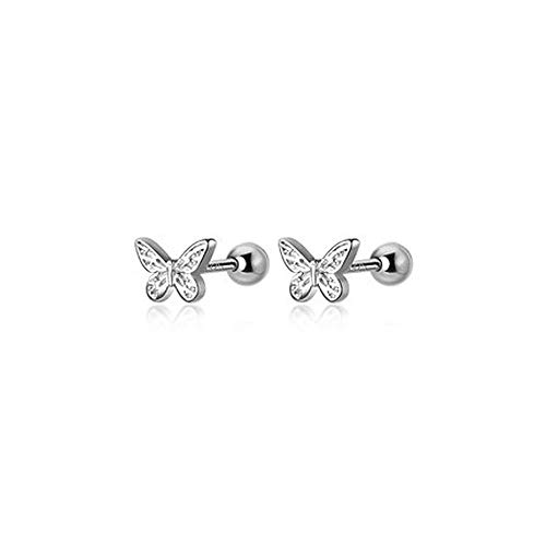 18g Tiny Butterfly Stud Earrings for Women Teen Girls Little Girls Cartilage 925 Sterling Silver Dainty Cute Daith Tragus Helix Screw Backs Hypoallergenic Piercing Jewelry Gifts Daughter Birthday Bff
