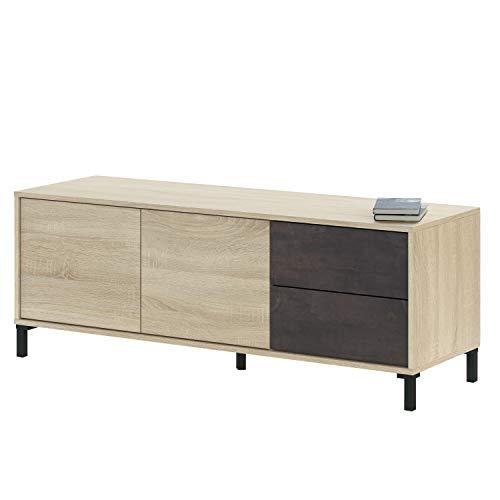 Modulo de TV, Mueble TV, Modelo Brooklyn, Acabado en Roble Canadian y Oxido, Medidas: 130 cm (Ancho) x 47 cm (Alto) x 41 cm (Fondo)