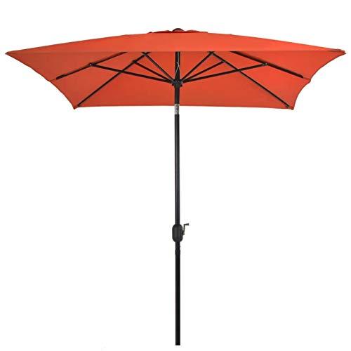 GOTOTOP Parasol Rectangular con Manivela 300 x 200 x 252 cm, Sombrilla Anti-UV con Poste de Acero 38mm para terraza, jardín, Playa, Piscina, Terracota