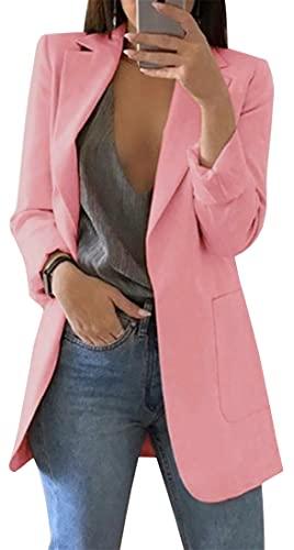 FLYCHEN Chaquetas de Traje y Blazers Blazers de Mujer Moda Color Sólido Solapa Manga Larga Mujer Business Casual Blazer Coat Office Lady, Rose, 3XL