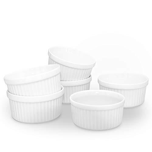 KitchenTour Porcelain Souffle Dishes 8 Ounces Oven Safe Ramekins for Baking Souffle,Creme Brulee,pudding,Custard Cups-Set of 6