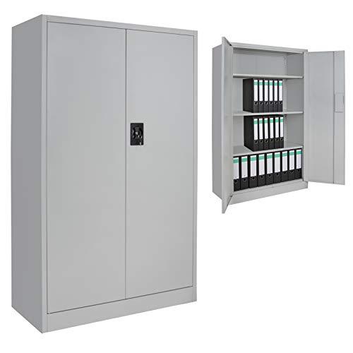 BB Sport Spind Büroschrank Aktenschrank 140 x 85 x 39 cm Metallschrank Universalschrank mit 3 Einlegeböden, Höhe frei montierbar Ordnerschrank, Farbe:Grau-Grau