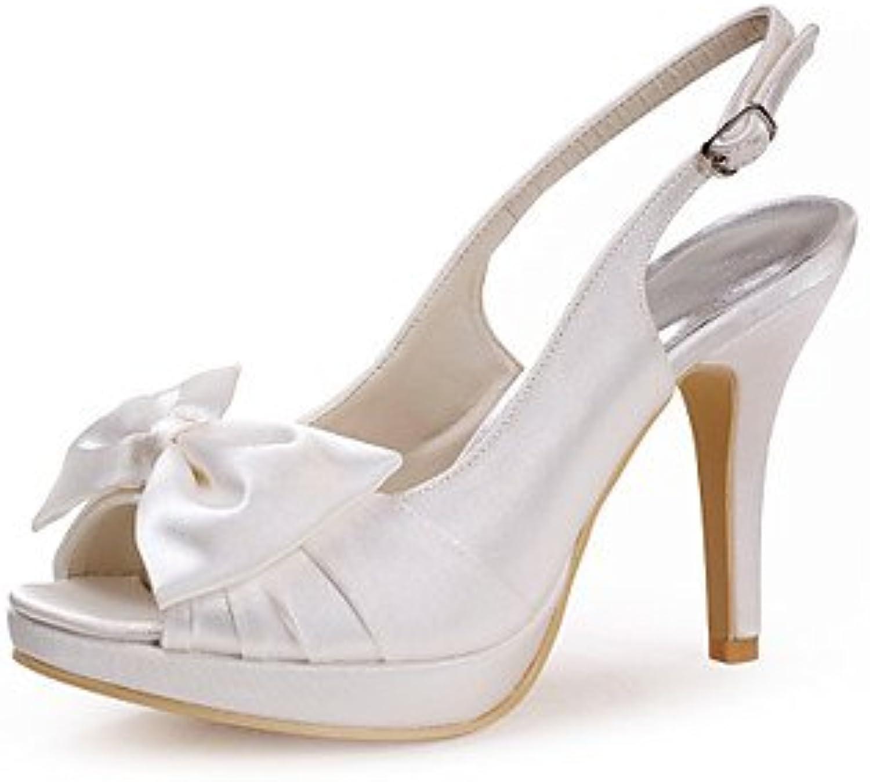Wuyulunbi@ Satin Womens'S Wedding Stiletto Heel Pee Toe Pumps Heels shoes With Bowknot (More colors)