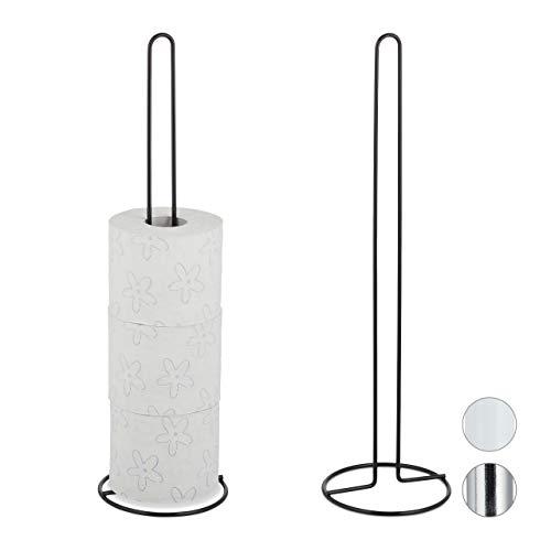 Relaxdays Ersatzrollenhalter, 2er Set, je 5 Ersatzrollen Toilettenpapier, Metall, freistehend, HxD: 50 x 14 cm, schwarz, 2 Stück