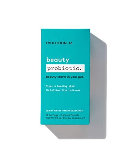 Evolution_18 Beauty Probiotic   Supplements for Gut Health, Better Digestion & Clear Skin   Natural Lemon Flavor   0.98 Oz (14 Servings)