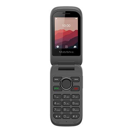 Mobiwire KOI SIM libre 2G teléfono móvil negro Bluetooth, cámara, radio FM/Mobiwire Koi teléfono móvil negro (desbloqueado) con funda para calcetín móvil (enlace rápido)