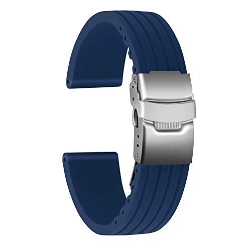 Ullchro Correa Reloj Calidad Alta Recambios Correa Relojes Caucho Stripe Pattern - 16mm, 18mm, 20mm, 22mm, 24mm Silicona Correa Reloj con Acero Inoxidable Hebilla desplegable (20mm, Azul)