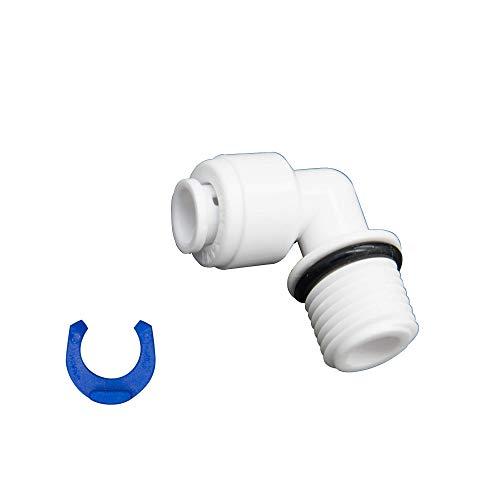 Smarald - Adaptador de conexión con ángulo de 90°, rosca de 1/4 pulgadas x manguera de 1/4 pulgadas para filtro de agua, carcasa de filtro y conversión de ósmosis