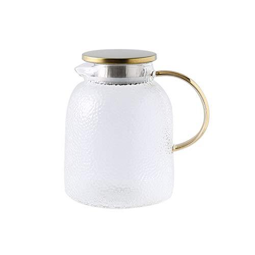 QAX Jarra de cristal con tapa y boquilla, jarra de agua de vidrio con asa, para nevera familiar, hervidor de 1,8 l