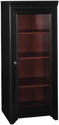 Bush Furniture Fairview Media Cabinet with Door in Antique Black and Hansen Cherry