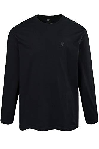 JP 1880 Herren große Größen bis 8XL, Langarmshirt, Sweatshirt mit Logo-Stickerei, Basic, Rundhals, Regular Fit, Baumwolle schwarz 3XL 702559 10-3XL