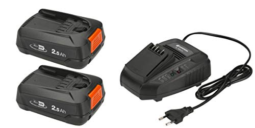 GARDENA Starter-Kit P4A 2 x PBA 18V/45 + AL 1830 CV: Für alle gängigen Power For All Geräte, 60 Minuten Ladezeit, Ready to Go Funktion, 2,5 Ah (14907-20)