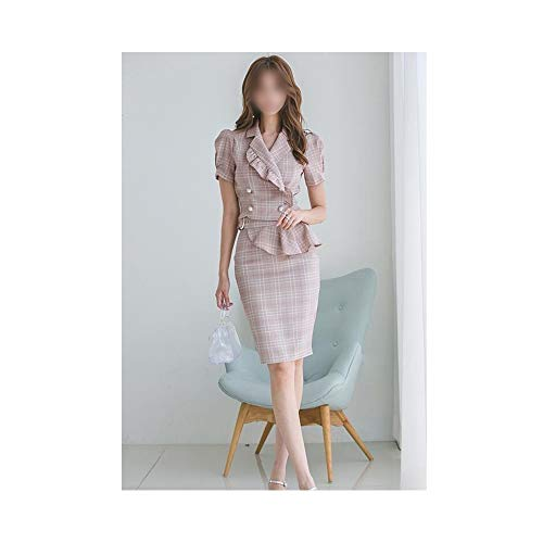 YUMUYMEY Ol Anzug Kragen schlank Zweireiher unregelmäßige Tasche hip Bag hip Dress (Farbe : Bildfarbe, Size : XL)
