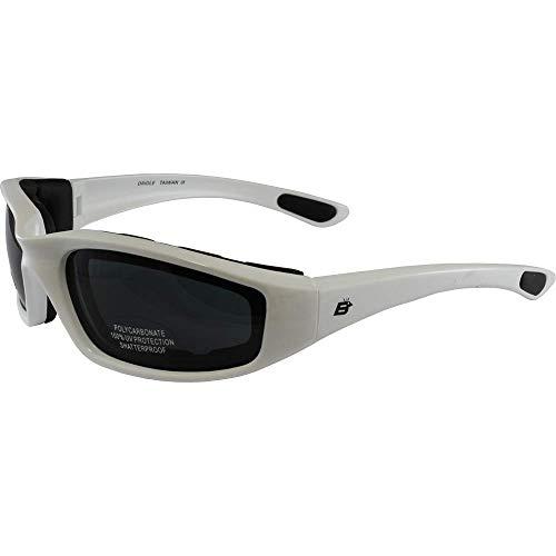 Birdz Eyewear Oriole acolchado Motorcycle Riding Gafas de sol brillante color blanco cuadros SUPER oscuro lentes