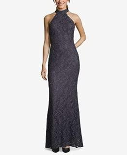 ALEX EVENINGS Womens Gray Halter Full Length Shift Formal Dress US Size: 4