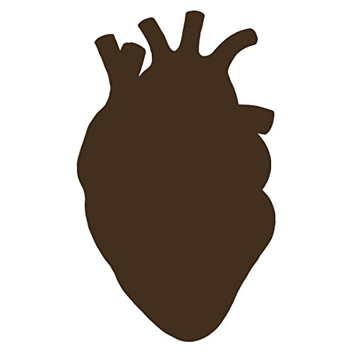 Anatomical Heart Silhouette Cardiologist Logo - Vinyl Decal for Outdoor Use on Cars, ATV, Boats, Windows and More - Brown 11 inch