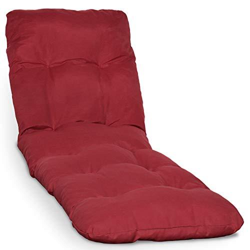 Beautissu Cuscino per lettini Prendisole e sedie a Sdraio Flair RL - 190x60x8cm - Ideale in Spiaggia, Giardino, Balcone - Rosso