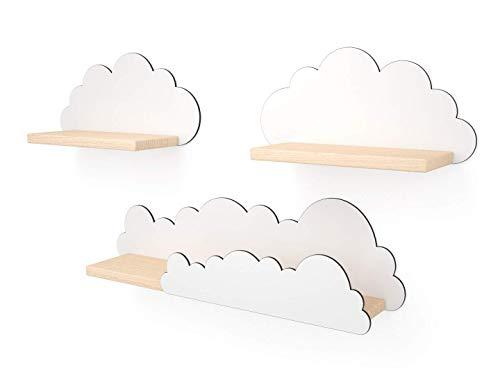 Novamat Kinderzimmer Regal Regal für Kinder Wandregal Kinderregal Junge Mädchen Spielzeug Bücher Holz Kommode Deko, Motiv: Wolken 3 Stück