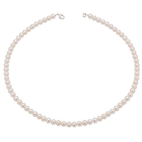 Perlenkette Kette Collier echte Perlen creme-weiß klassisch Halsschmuck Brautschmuck Damen