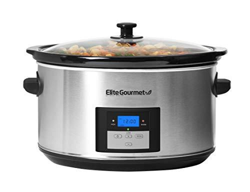 Elite Gourmet MST-900D Digital Programmable Slow Cooker, Oval Adjustable Temp, Entrees, Sauces, Stews & Dips, Dishwasher Safe Glass Lid & Crock (8.5 Quart, Stainless Steel)