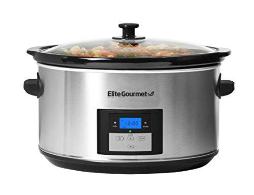 Elite Gourmet Digital Programmable Slow Cooker 8.5 Quart, Stainless Steel