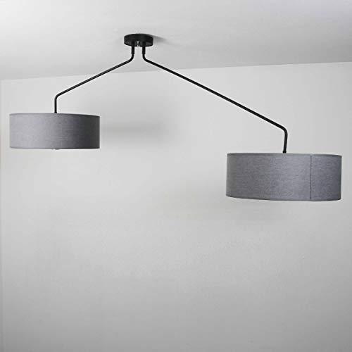 XXL Deckenleuchte Wohnzimmer Schlafzimmer Beleuchtung Grau mit Stoffschirm schwenkbar verstellbare Leuchte