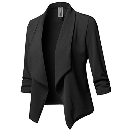 MINTLIMIT Damen Blazer Cardigan Dünn Geraffte Ärmel Elegant Bolero Business Jacke Blazer Slim Fit Anzug Trenchcoat Sakko Einfarbig Schwarz M