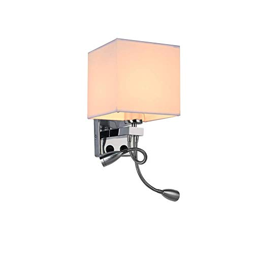YLCJ Moderne wandlamp met verstelbare slang LED-lampen 3W bedlampje met schakelaar stoffen kap wandlamp slaapkamer nachtlampje wandlamp E27 bus 2 vlammen linnen