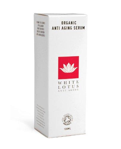 White Lotus Organisches Anti Aging SERUM 100 ml   Nicht fettig reich an Antioxidantien + Vitamin C   von internationalen Verjüngungs-Experten entwickelt, für Gesicht, Auge und Hals