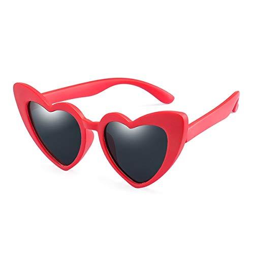 Sunglasses Baby Girl Sunglasses For Children Heart NEW Black Pink Red Heart Sun Glasses For Kids Polarized Flexible Uv400 red grey