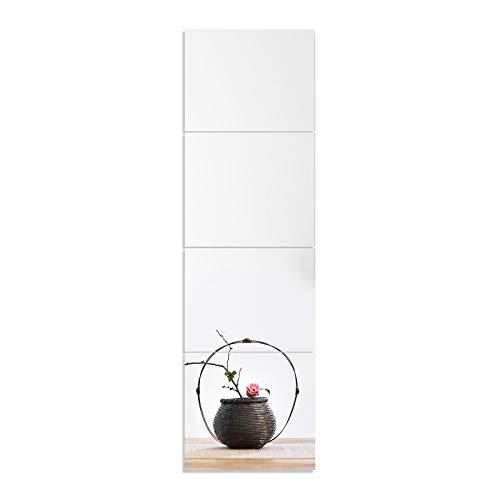 4 adesivi da parete per specchi, 119,9 x 30,0 cm, con cuciture a specchio, per camera da letto, dormitorio e camera da letto, specchio a tutta lunghez