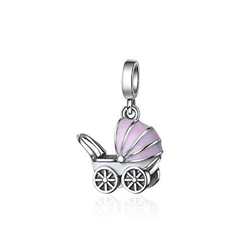 FeatherWish Charm-Anhänger für Pandora-Armband oder -Halskette, Motiv Kinderwagen, Emaille, Rosa