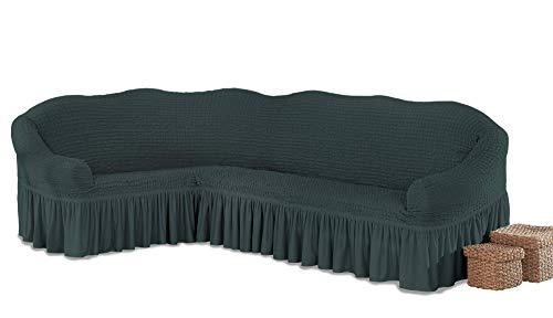 My Palace Beatrice elastischer Ecksofabezug mit Anti-rutsch Schaumstoffankern L-Form Sofahusse Eckcouch Cover Sofa Überwurf Spannbezug, Anthrazit