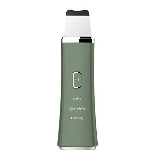 Épurateur Ultrasonique Peau 3 en 1 Nettoyeur Visage Skin Scrubber USB Rechargeable Appareil Massage Visage pour Acné Ridules et Rides Visage Traitement Exfoliation,Vert