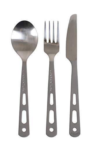 Lifeventure 9515 Titanium Cutlery Set Unisex-Adult, Silver