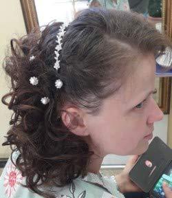 Tiara de boda, tiara de novia adornada con perlas, cinta para la...