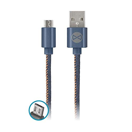FOREVER Micro USB Cable, Android Cable 1 M Long, Jeans braided, Compatible with Samsung S7/S6/S5, HTC, Huawei, Sony, Nexus, Nokia, PS4, Tablet, Charging and Data Transfer, Portable Wire