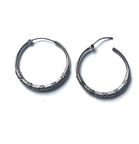 Ethnos Barcelona - Aros de plata con adorno grabado. 3.2 cms. Ø