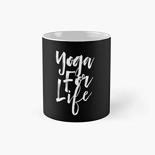 Yoga for Life Modern Urban Unisex Typography Motivational Text Design Classic Mug | Best Gift Funny Coffee Mugs 11 Oz