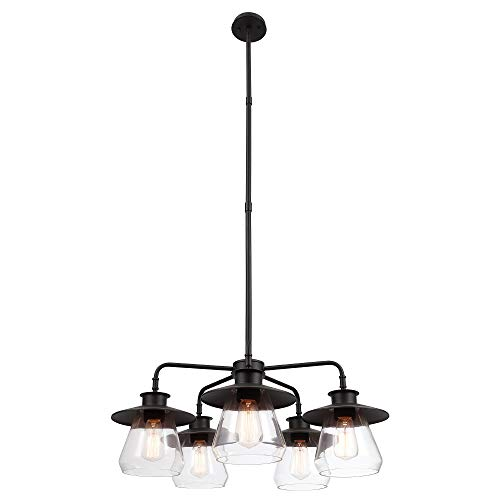 Nate 5-Light Chandelier, Oil Rubbed Bronze, Clear Glass...