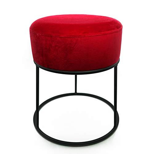 CREOFANT Hocker Samt · gepolsterter Hocker mit Metallgestell · Polsterhocker · Sitzhocker Samtbezug · Schminktisch Hocker · Sitzmöbel · Sitzbank (Rot | Schwarz)