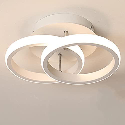 Plafoniera a LED da Soffitto 2 Cerchi LED Nero Bianco Moderno Caldo Confortevole Plafoniera per Corridoio Scala Ufficio Plafoniera Soggiorno Luce Bianca Calda 22W Bianco