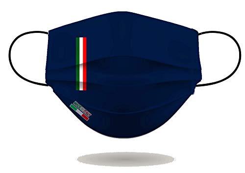 Mascherina per Viso con elastici, lavabile e sterilizzabile, Unisex, Made in Italy (BLU NAVY)