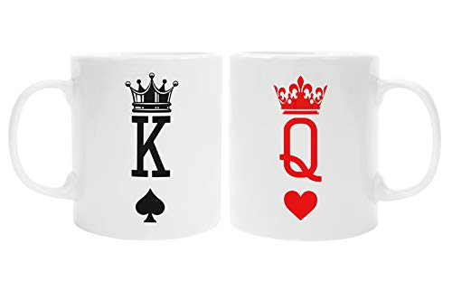 Colorfamily Coppia Tazze Mug SanValentino King & Queen - Re di Picche e Regina di Cuori - Idea Regalo per Lui e lei