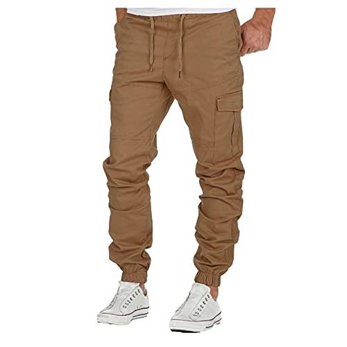 WXZZ Pantalones cargo para hombre, de corte regular, ajustados, de algodón, para deporte, con cordón, para el tiempo libre, para entrenamiento, cargo o trabajo caqui L